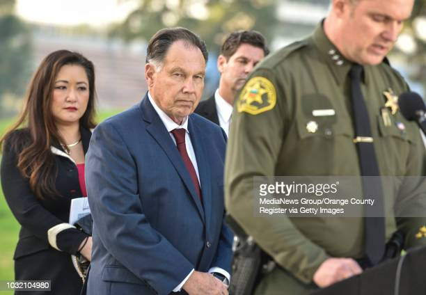 Orange County District Attorney Tony Rackauckas left stands with Orange County Undersheriff Don Barnes as he announces the arrest of Samuel Lincoln...