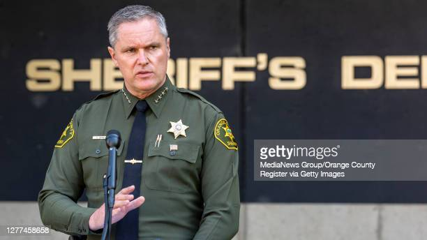"""Orange County Sheriff Don Barnes holds a press conference in Santa Ana on Thursday, September 24, 2020 to discuss Orange County sheriff""""u2019s..."""