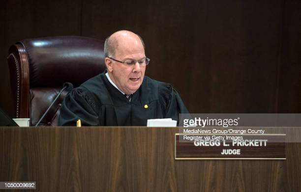 Orange County Superior Court Judge Gregg L Prickett reads the death sentence to Andrew Urdiales in superior court in Santa Ana on Friday October 5...