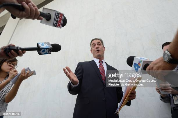 Orange County Supervisor Todd Spitzer holds an impromptu press conference outside the Orange County District Attorney office in Santa Ana on Tuesday...
