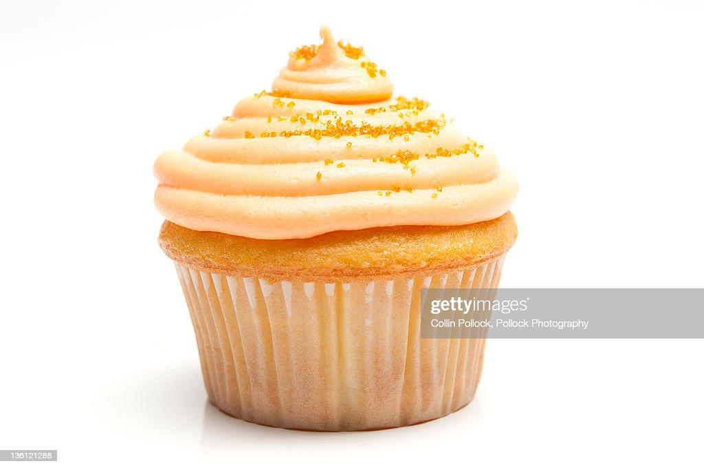 Orange Cream Cupcake On White Background Stock Photo Getty
