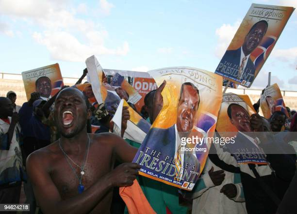 Orange Democratic Movement supporters celebrate after Raila Odinga won his Langata parliamentary seat in Nairobi Kenya on Friday Dec 28 2007 Odinga...