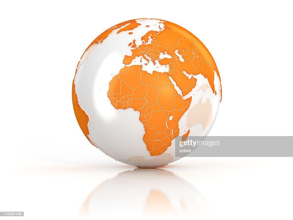 Orange Earth globe on white surface : Stock Photo