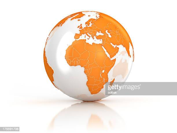 orange earth globe on white surface - computergrafieken stockfoto's en -beelden