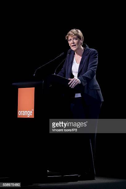 Orange Executive Director Fabienne Dulac speaks during the general shareholders meeting of French telecom operator Orange organized at Palais des...