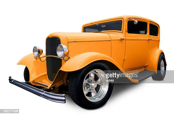 orange hot rod - hot rod car stock photos and pictures