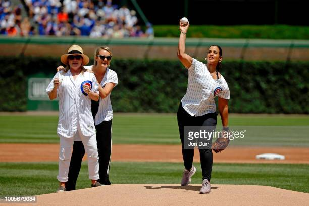 Orange Is The New Black actress Dascha Polanco throws out a cermonial first pitch before the game between the Chicago Cubs and the Arizona...