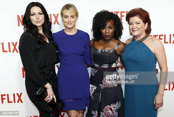Orange is the New Black cast members US actresses Laura Prepon Taylor Schilling Uzo Aduba and Kate Mulgrew pose during a photocall for the launch of...