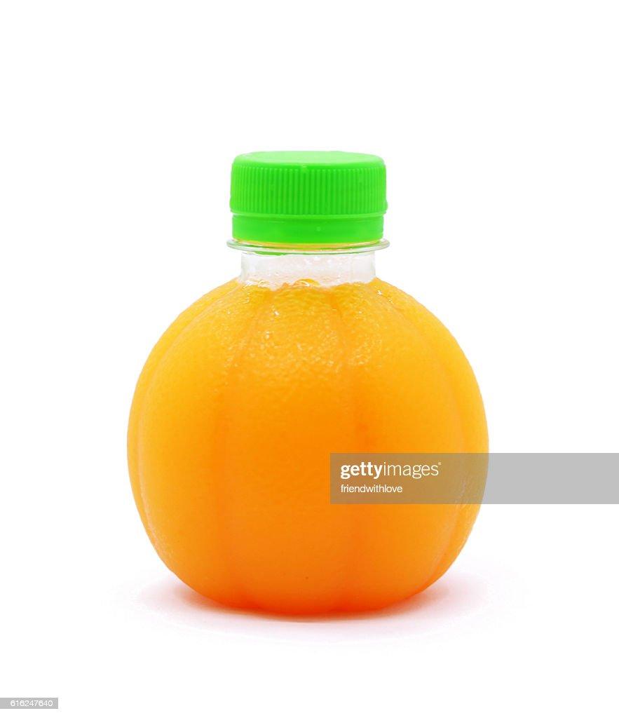 Orange juice a plastic spherical bottle. Isolated : Stock Photo