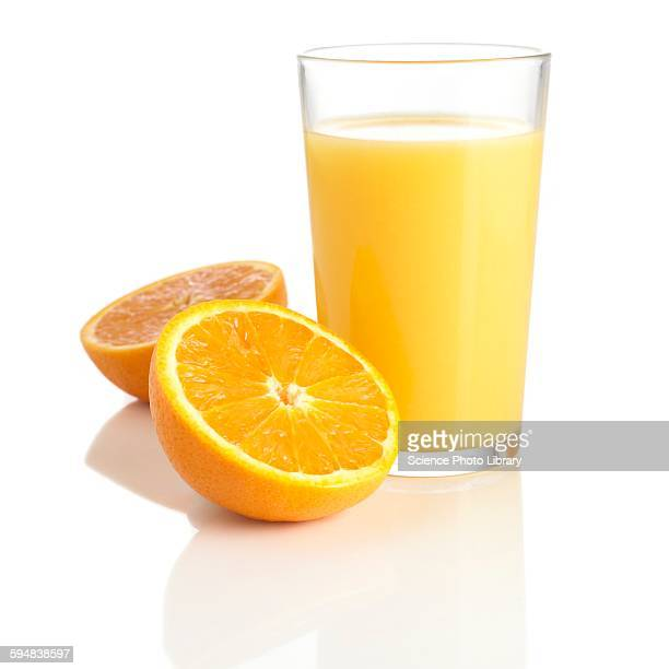 Orange juice and fresh orange