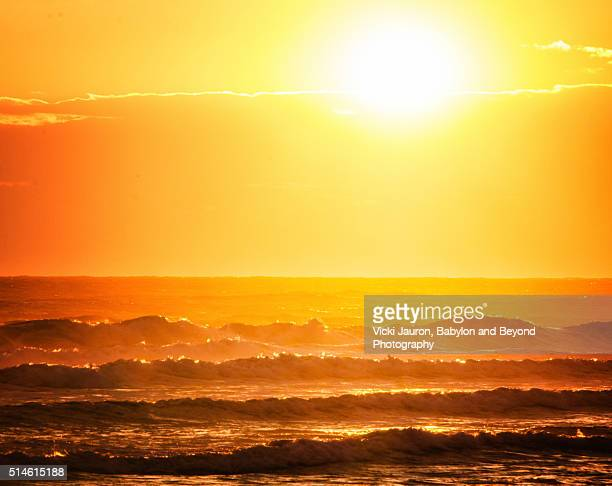 Orange Layers of Sunrise Over the Ocean at Fire Island, Long Island