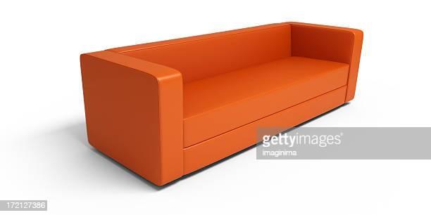 Orange Leder-Sofa