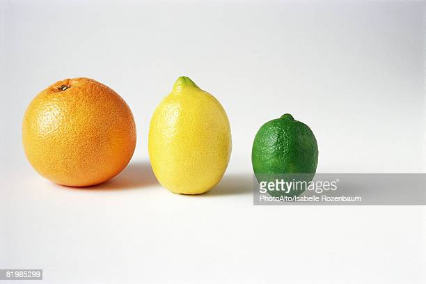 orange, lemon, and lime in a row, close-up - zitrusfrucht stock-fotos und bilder