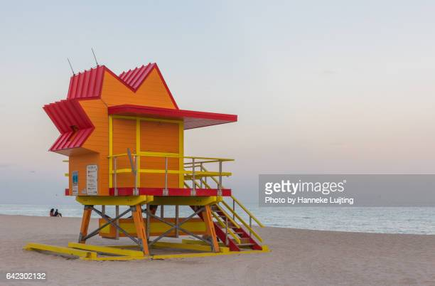 Orange lifeguard tower at Miami Beach