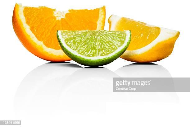 Orange, lime and lemon wedges