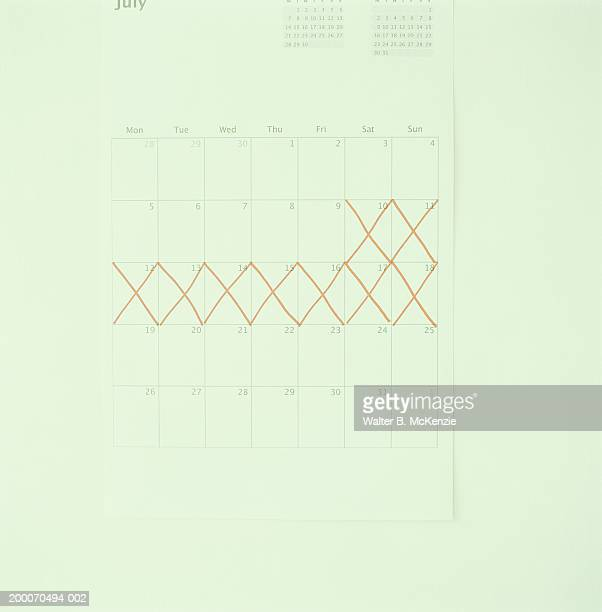 Orange lines crossing out  days on calendar