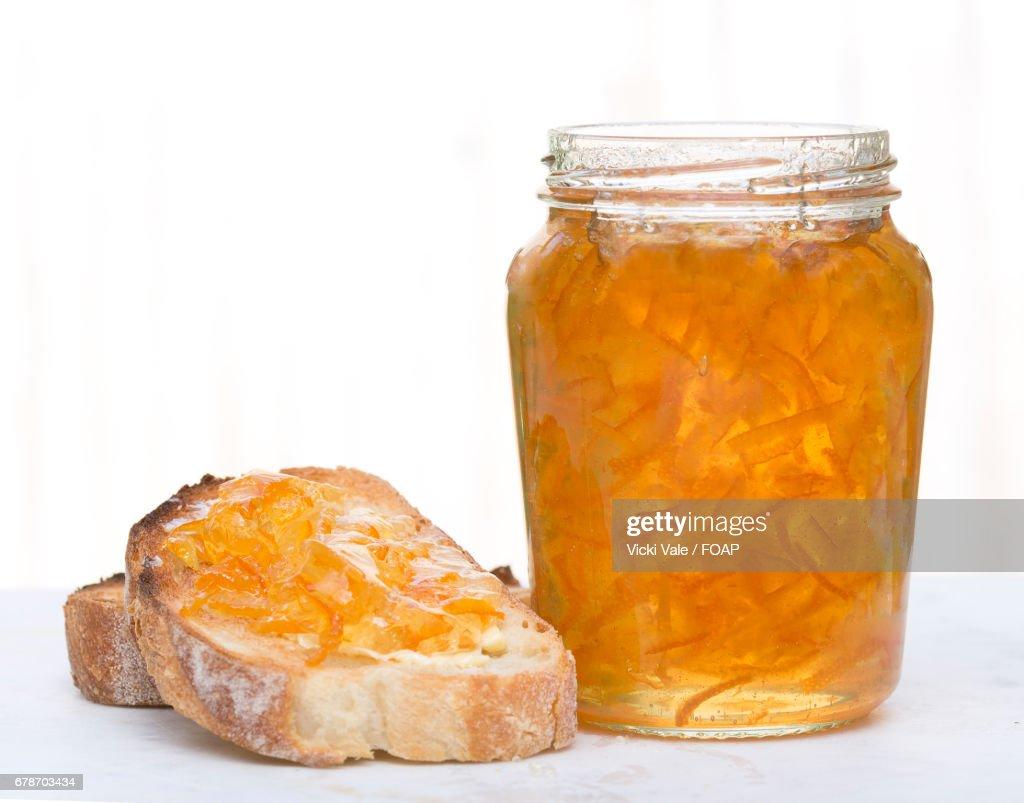 Orange marmalade on toast : Stock Photo