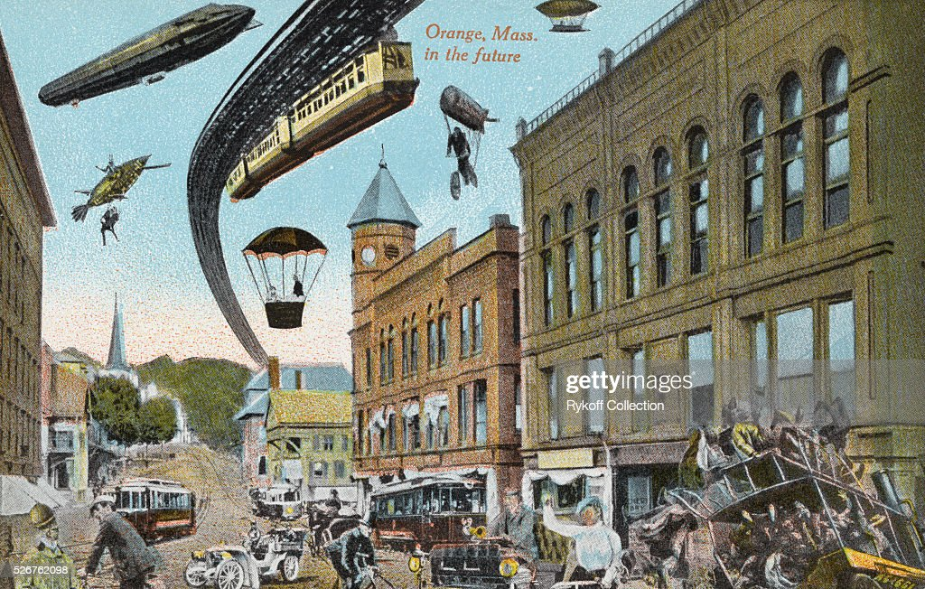 Postcard Depicting the Future of Orange, Massachusetts : Nachrichtenfoto