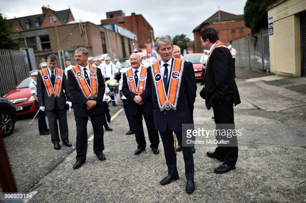Orange men wait for the start of the annual 12th of July Orange march and demonstration taking place on July 12 2018 in Belfast Northern Ireland The...