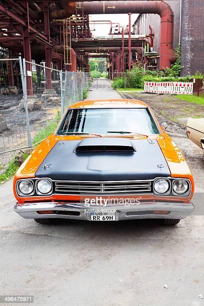 Orange muscle car Dodge Challenger