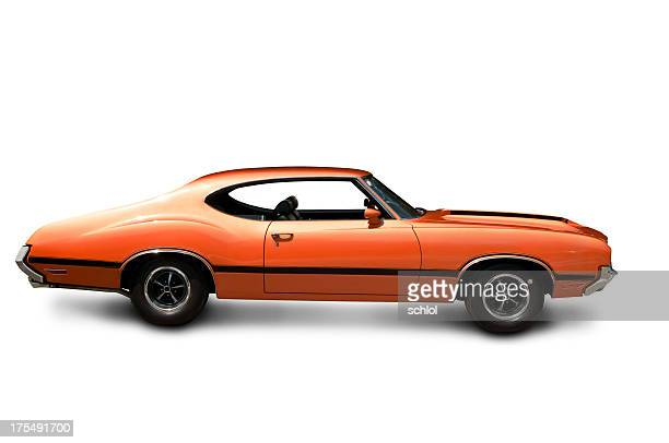 orange muscle car - side view - 1970s muscle cars stock pictures, royalty-free photos & images