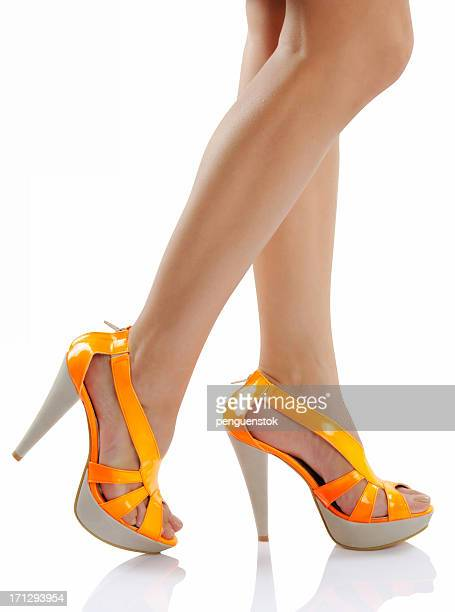 orange neon shoes - sandal stock pictures, royalty-free photos & images