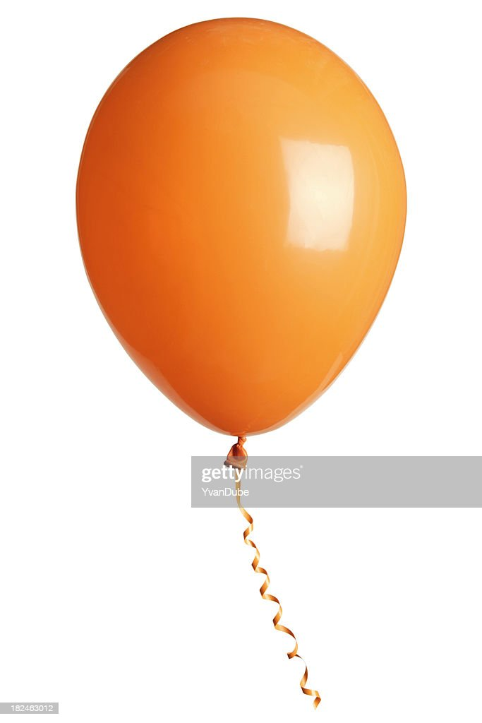 orange party balloon isolated on white : Stock Photo