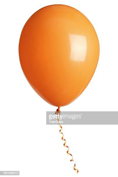 orange party balloon isolated on white