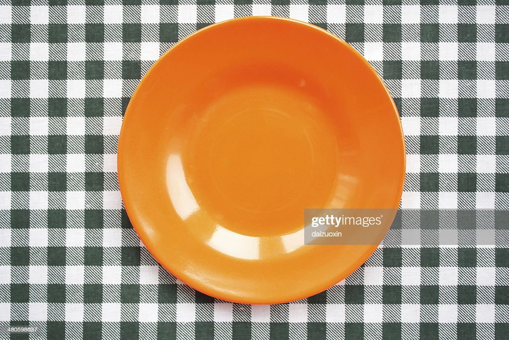 Orange plastic dish : Stock Photo