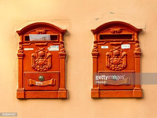 Orange postboxes, Bra, Italy