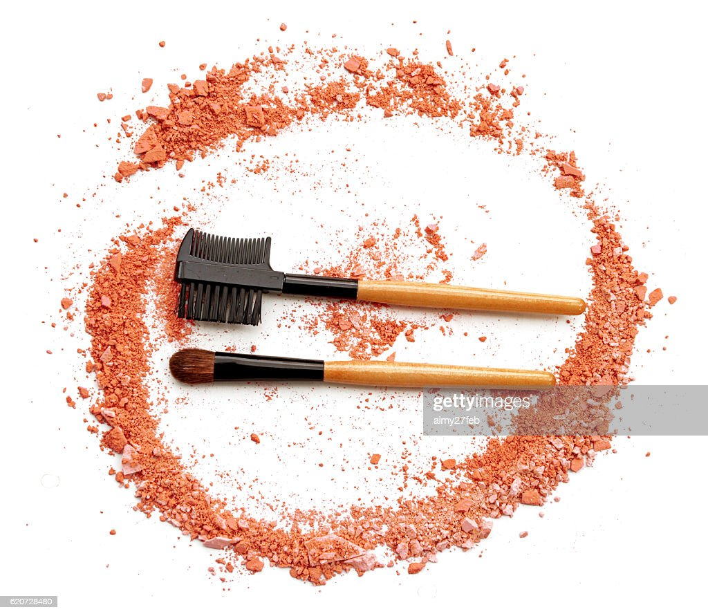 orange Powder Eyeshadow on a Brush, fashion beauty tool blusher : Stock Photo