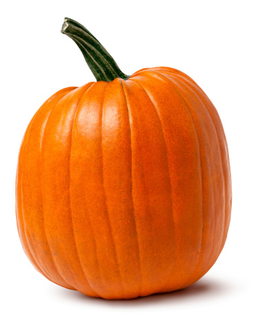 Orange Pumpkin with Twisted Stem Isolated Clipping Path 184598514