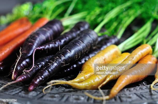 Orange, Purple, and Yellow Carrots