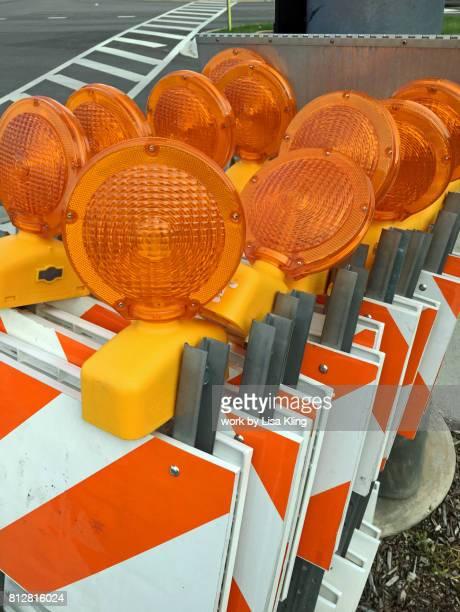 Orange reflective street safety barricades