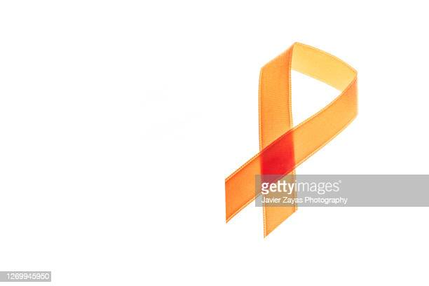 orange ribbon on white background - appendix stock pictures, royalty-free photos & images