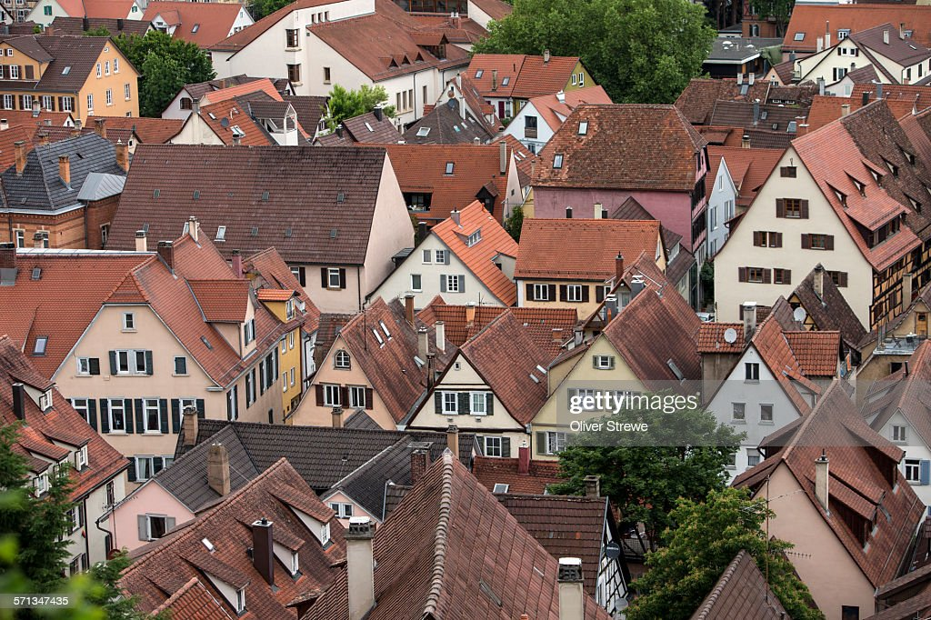Orange rooves, historic town of Tubingen : Stock Photo