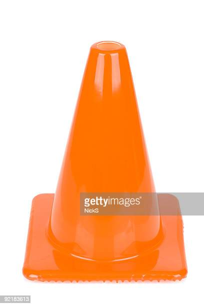 orange safety cone - cone shaped objects stock pictures, royalty-free photos & images