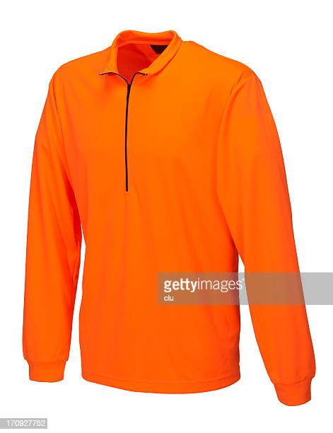 orange shirt on white background - long sleeved stock photos and pictures