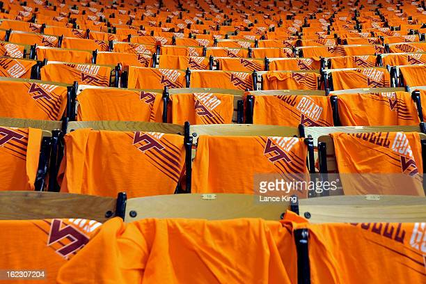 Orange shirts are seen on seats prior to a game between the Duke Blue Devils and the Virginia Tech Hokies at Cassell Coliseum on February 21 2013 in...