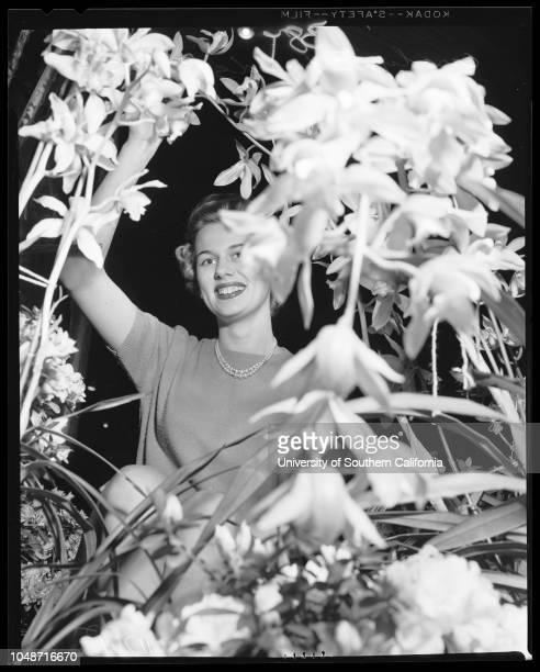 Orange show in San Bernardino, March 7 1956. Marge Divel;Carol Wilson;Gay Cowie;Jeanne Black;Sheri Young;Gay Helen Grover;Alexa Loma;Marilyn Van...