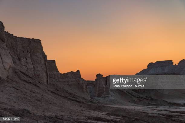 Orange sky at dusk in the Star Valley, Qeshm Island, Persian Gulf, Hormozgan Province, Southern Iran