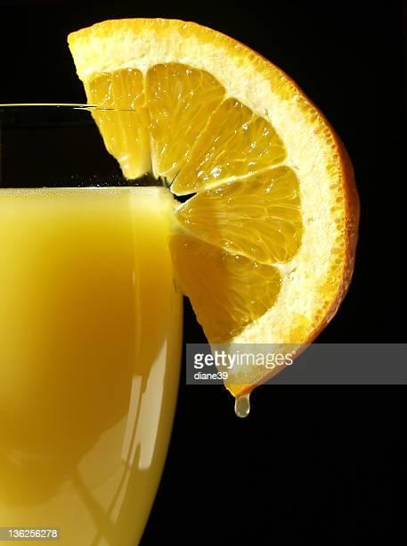 orange slice and glass