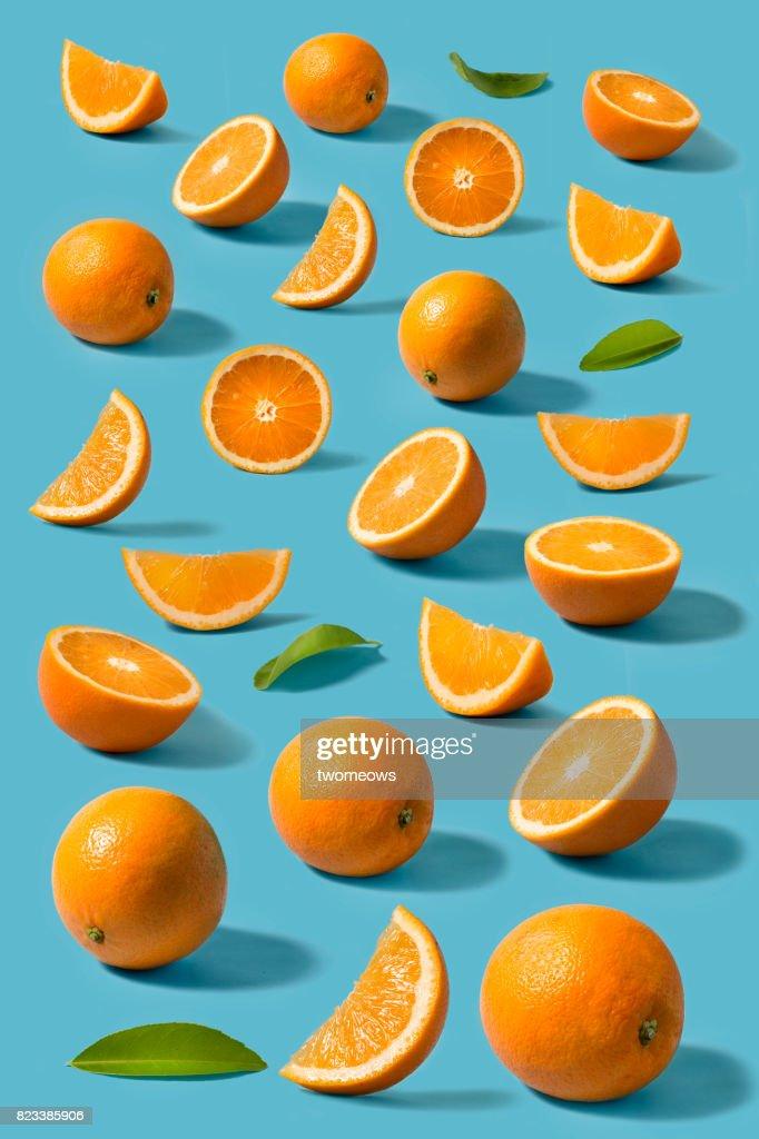 Orange still life on blue background. : Stock Photo