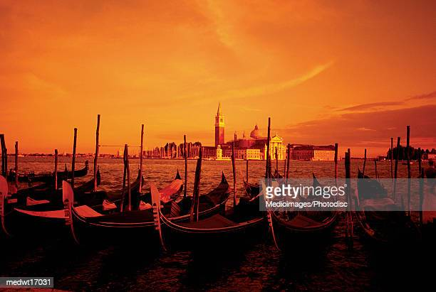orange sunset and view of san giorgio church and gondolas in venice, italy - travel14 stock pictures, royalty-free photos & images