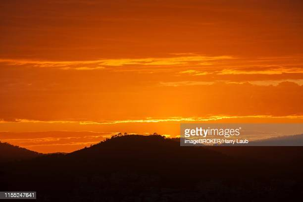 orange sunset, hill in backlight, near paguera or peguera, majorca, balearic islands, spain - {{asset.href}} stock pictures, royalty-free photos & images