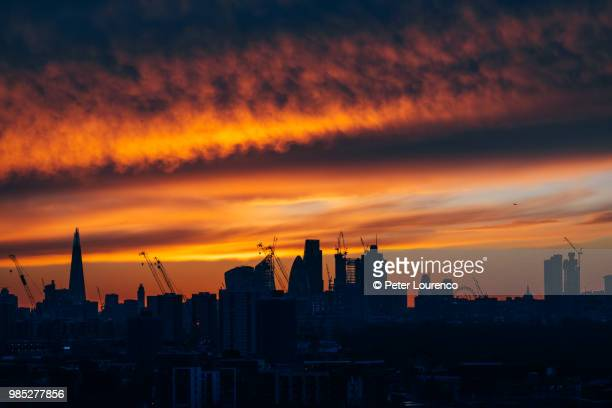 Orange sunset over London