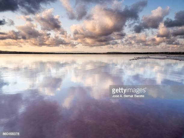 orange sunset with high clouds, over a lake of calm water with reflection of clouds in the water. torrevieja, (valencian community), spain. - reflection lake stock photos and pictures