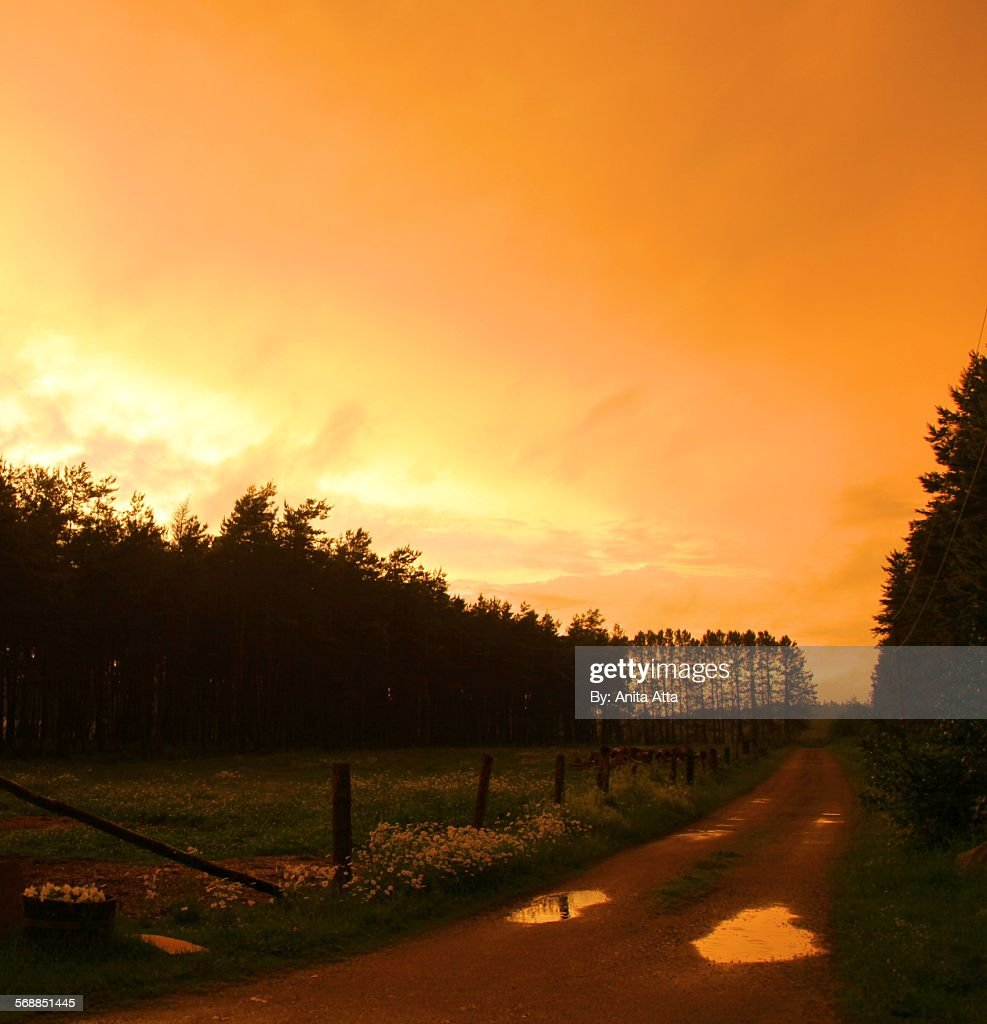 Orange sunset with reflections in puddles : Stock Photo