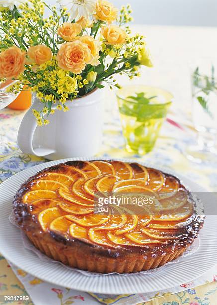 Orange tart on plate