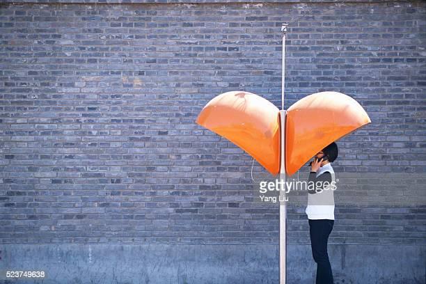 Orange Telephone Booths